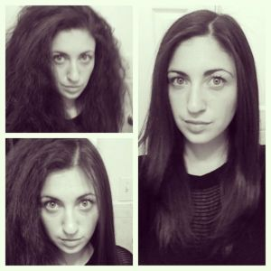 before/after straightening hair with CHI straightener